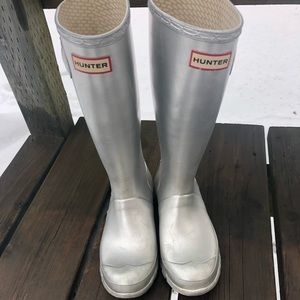 Metallic Silver Hunter Wellington Rain Boot